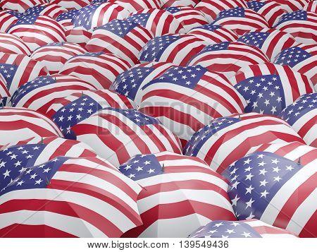 Umbrellas With Flag Of United States Of America