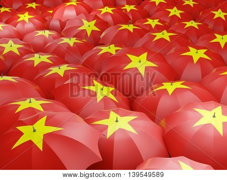 Umbrellas With Flag Of Vietnam