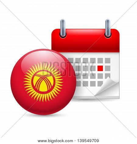 Calendar and round Kyrgyz flag icon. National holiday in Kyrgyzstan