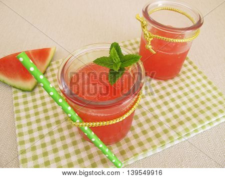 Homemade slush ice with watermelon and mint