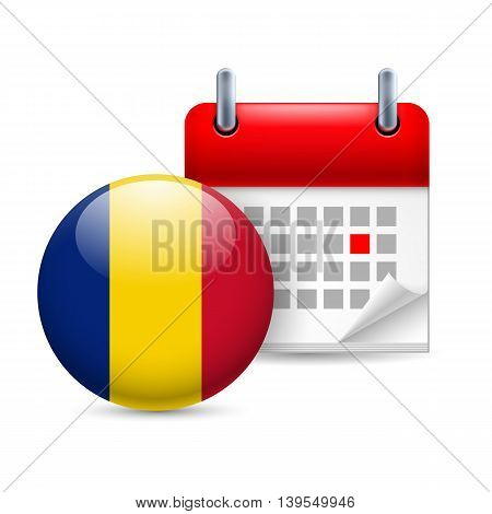 Calendar and round Romanian flag icon. National holiday in Romania