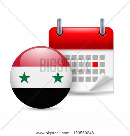 Calendar and round Syrian flag icon. National holiday in Syria