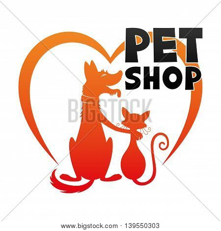 Dog with a cat and a heart for a pet shop sign.