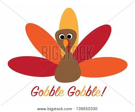 Gobble Gobble Colorful Happy Thanksgiving Turkey Bird