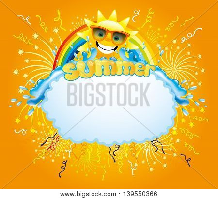 Water splash, confetti, firework, rainbow and sun background with space for your text.
