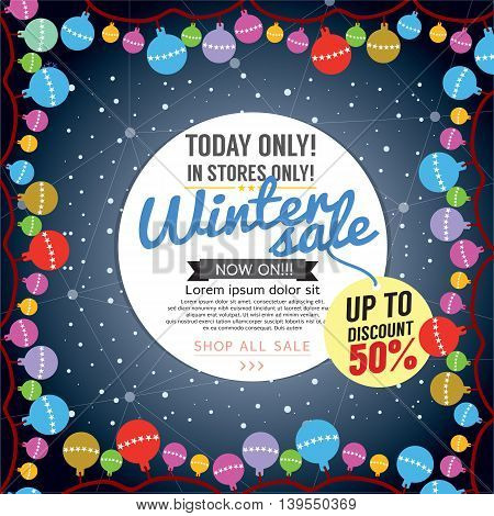 Decorated Christmas Tree Winter Concept Up To 50 Percent Sale Template Vector Illustration. EPS 10