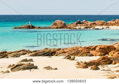 Meelup Beach near the town of Dunsborough in Western Australia. This is a coastline frequented by potentially dangerous sharks.