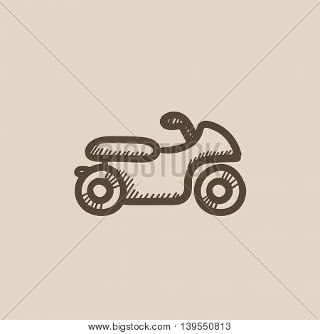 Motorcycle vector sketch icon isolated on background. Hand drawn Motorcycle icon. Motorcycle sketch icon for infographic, website or app.