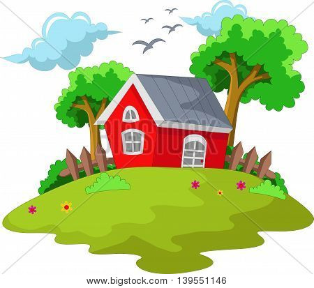 cartoon house with green grass background for your design