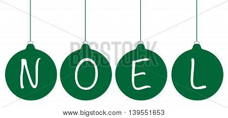Green Merry Christmas Happy Holidays Noel Ornaments