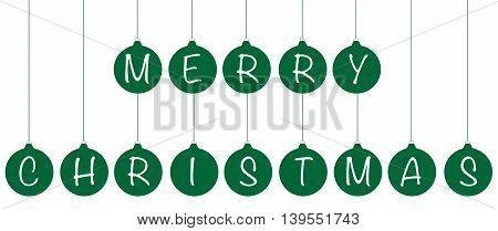 Green Merry Christmas Happy Holidays Ball Ornaments