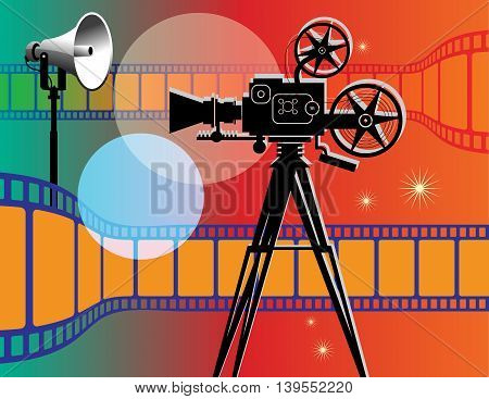 Abstract vintage color cinema background, vector illustration