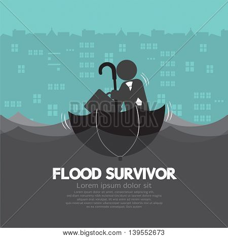 Businessman Sit In The Up Side Down Open Umbrella Flood Survivor Vector Illustration. EPS 10