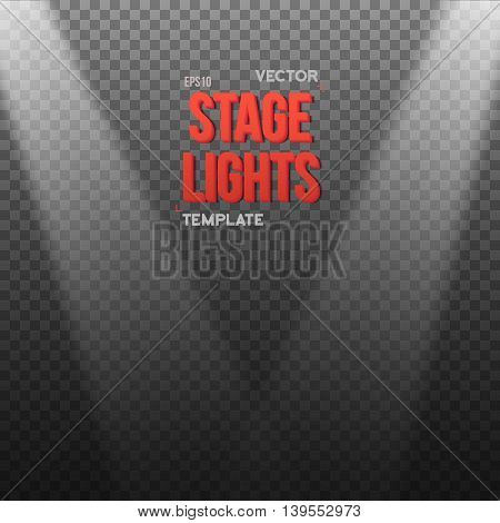 Illustration of Vector EPS10 Bright Light Effect. Transparent Studio Stage Light Effect on Transparent Background
