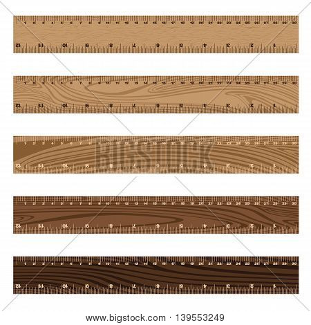 Wooden ruler texture on white background. Wooden texture.