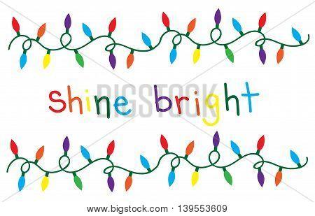 Merry Christmas Happy Holidays Shine Bright Lights