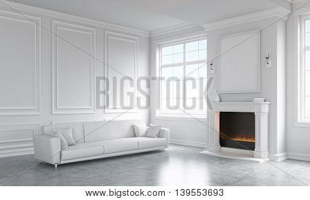 Concrete Living Room Interior