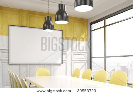 Conference room in contemporary New York office. Big whiteboard on wooden wall. Lamps on ceiling. Big window. Table and chairs. Concept of business negotiations. 3D rendering. Mock up.