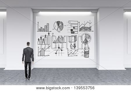 Man in formal suit looking at whiteboard with diagrams and graphs drawn in black. Concept of road to success 3d rendering
