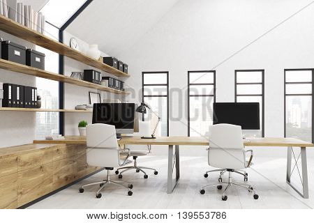 Office room. Workstations on tables. Lamp on desk. Binders boxes and clock on shelves. Concept on productive work. 3d rendering.