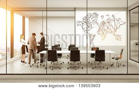 Business traveling concept with polygonal map on whiteboard in furnished conference room interior with discussing businesspeople New York city view and sunlight. 3D Rendering