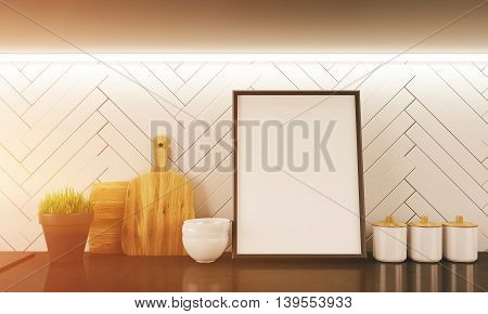 Modern kitchen counter with cutting boards jars and bowls. Big picture in centre. Concept of family dinner and cooking. 3d rendering. Mock up. Toned image