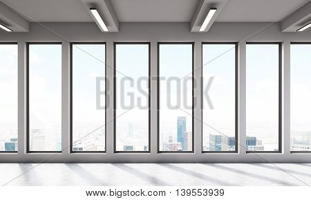 Big room with large windows and beautiful view. Concept of simplicity. 3D render