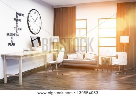 Computer on wooden desk. Gray sofa under window. Large clock on white wall. Concept of effective work. 3d rendering. Toned image.