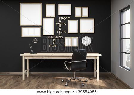 Multiple posters in frames on black wall of home office. Wooden floor. Comfortable writing table. Big armchair. Concept of goal achievement. 3d rendering. Mock up