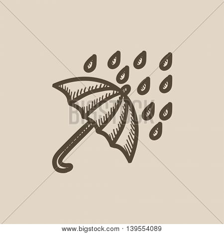 Rain and umbrella vector sketch icon isolated on background. Hand drawn Rain and umbrella icon. Rain and umbrella sketch icon for infographic, website or app.