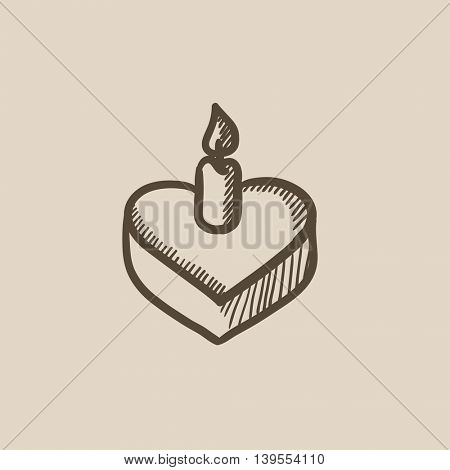Heart-shaped cake with candle vector sketch icon isolated on background. Hand drawn Heart-shaped cake with candle icon. Heart-shaped cake with candle sketch icon for infographic, website or app.