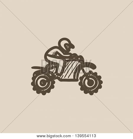 Man riding motocross bike vector sketch icon isolated on background. Hand drawn Man riding motocross bike icon. Man riding motocross bike sketch icon for infographic, website or app.