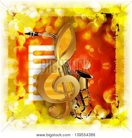 Vector illustration of musical background treble clef and a saxophone piano against a bright background with flares and sparks.