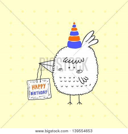 Baby bird Happy Birthday card, vector illustration