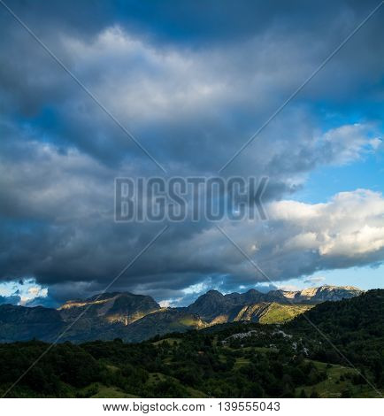 Clouds making dramatic effect on beautiful mountains