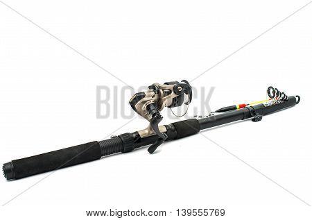 fishing pole equipment isolated on white background