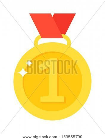 Medal first place vector illustration.