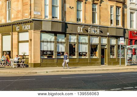 GLASGOW SCOTLAND - JULY 21 2016: Ox and Finch restaurant in Sauchiehall Street in the west-end of Glasgow.