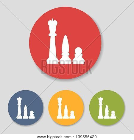 Flat chess figures icons set vector illustration