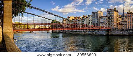Lyon (France) Passerelle Saint-Vincent on river Saone