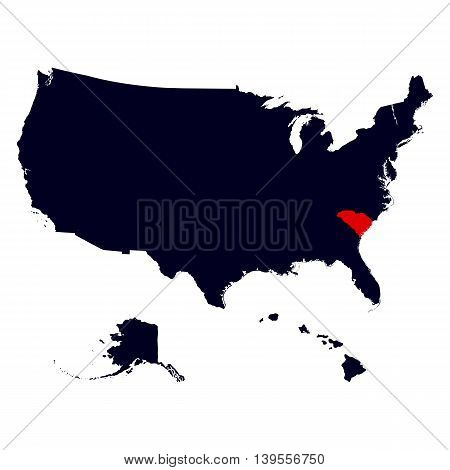South Carolina State in the United States map vector