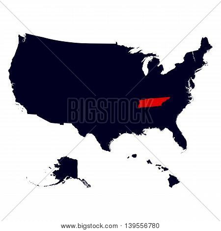 Tennessee State in the United States map vector