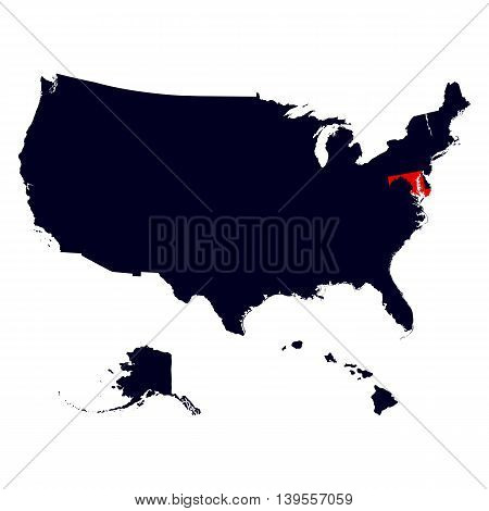 Maryland State in the United States map vector
