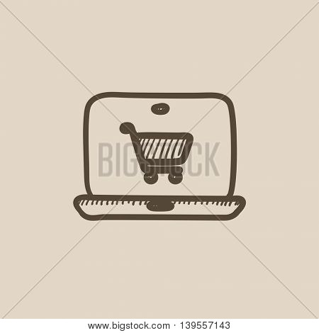 Online shopping vector sketch icon isolated on background. Hand drawn Online shopping icon. Online shopping sketch icon for infographic, website or app.