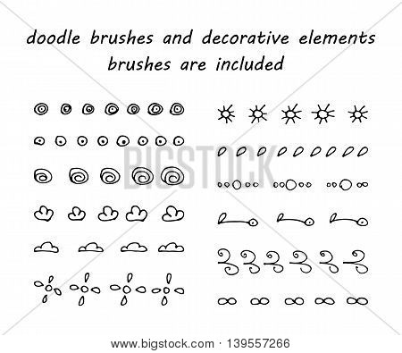 Doodleink brushes and hand drawn decorative elements. Grunge style. Brushes are included.