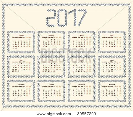 2017 year calendar template with decorative doodle elements hand drawn framesblue and brown colors.