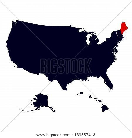 Maine State in the United States map vector