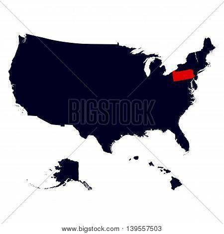 Pennsylvania State in the United States map vector