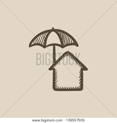 House under umbrella vector sketch icon isolated on background. Hand drawn House under umbrella icon. House under umbrella sketch icon for infographic, website or app.