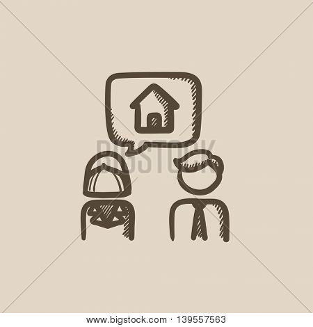Couple dreaming about house vector sketch icon isolated on background. Hand drawn Couple dreaming about house icon. Couple dreaming about house sketch icon for infographic, website or app.